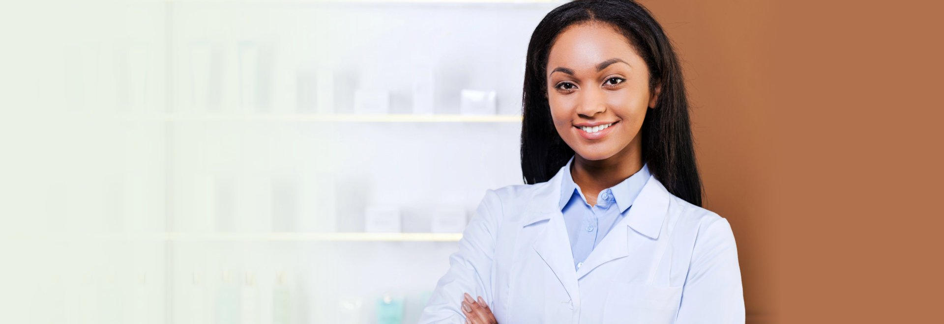 beautiful and confident pharmacist smiling